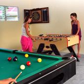 Enjoy table top football, table tennis and darts at Turtle Bay Dive Resort