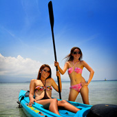 Kayaking in the sea at Turtle Bay Dive Resort