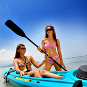 Hire a kayak and get some exercise at Turtle Bay Dive Resort