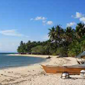 A perfect fine white sandy beach with a great coral reef